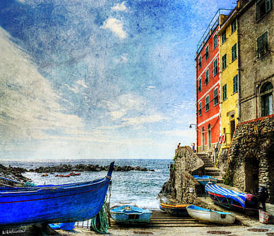 Cinque Terre - Little Port Of Riomaggiore - Vintage Version Art Print