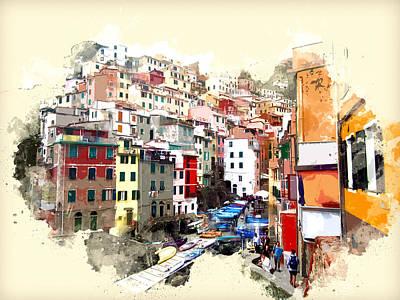 Riomaggiore Painting - Cinque Terre Region Of Italy Town Of Riomaggiore by Elaine Plesser