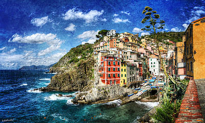 Photograph - Cinque Terre - Riomaggiore From Above- Vintage Version by Weston Westmoreland