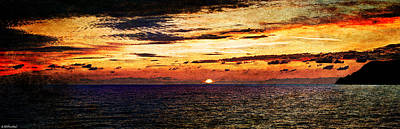Photograph - Cinque Terre - Sunset From Manarola - Panorama - Vintage Version by Weston Westmoreland
