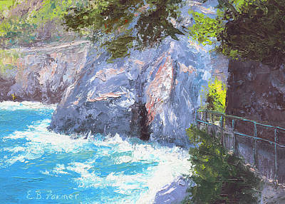 Walking Path Painting - Cinque Terre Trail Italy by Elaine Farmer