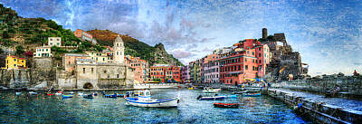 Photograph - Cinque Terre - Vernazza From The Breakwater - Vintage Version by Weston Westmoreland
