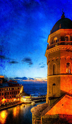 Photograph - Cinque Terre - Vernazza Harbor And Bell Tower - Vintage Version by Weston Westmoreland