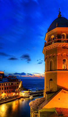 Photograph - Cinque Terre - Vernazza Harbor And Bell Tower by Weston Westmoreland