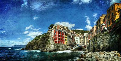 Photograph - Cinque Terre - View Of Riomaggiore - Vintage Version by Weston Westmoreland