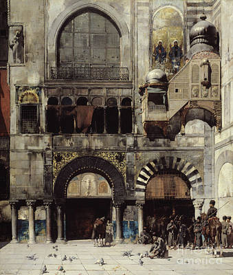 Pigeon Painting - Circassian Cavalry Awaiting Their Commanding Officer At The Door Of A Byzantine Monument by Alberto Pasini