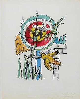 Mourlot Painting - Circle And Birds From The Series La Ville by Fernand Leger