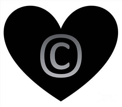 Digital Art - Circle C Black Heart by Catherine Lott