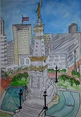 Monument Circle Painting - Circle City by Kathie Sullivan Pauley