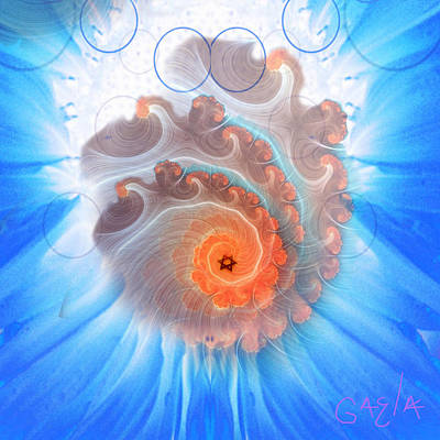 Circle Fire Blue Art Print by Gaela Cohen