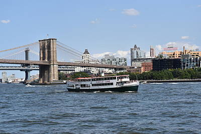 Photograph - Circle Line And Brooklyn And Manhattan Bridges by Nina Kindred