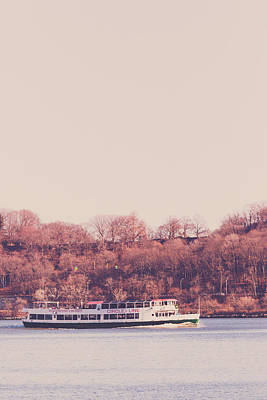 Circle Line Cruise Boat On Hudson River Art Print