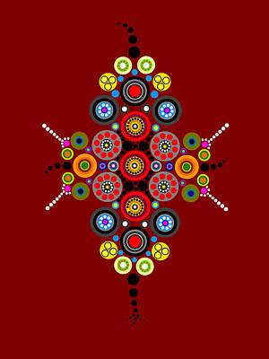 Tribal Art Painting - Circle Motif by John F Metcalf