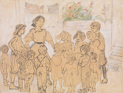 Drawing - Circle Of Children by Jerome Myers