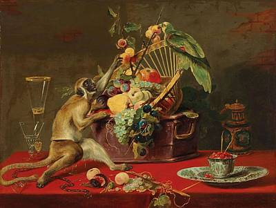 Still Life Royalty-Free and Rights-Managed Images - Circle of Frans Snyders Antwerp 1579 1657 A still life of fruit with a monkey by A still life of fruit with a monkey