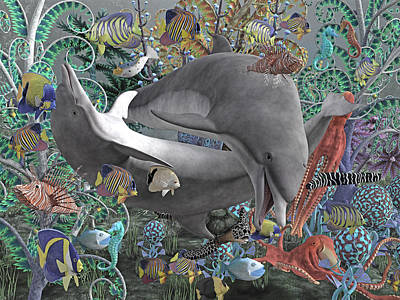 Reptiles Digital Art - Circle of Friends by Betsy Knapp
