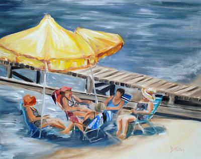 Women On Beach Wall Art - Painting - Circle Of Friends by Donna Tuten