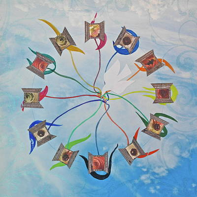 Mixed Media - Circle Of Hearts by Michele Myers