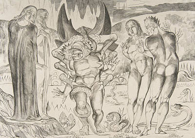 Relief - Circle Of Theives, Agnello Brunelleschi Attacked By A Six-footed Serpent by William Blake