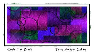 Circle The Block In Purple And Blue Art Print by Terry Mulligan