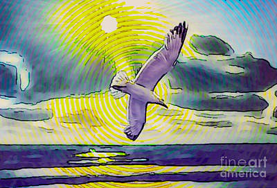 Digital Art - Circle Watercolor Seascape With Seagull by Algirdas Lukas