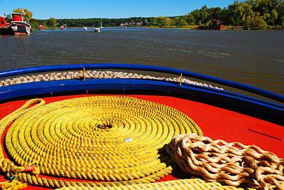 Hudson River Tugboat Photograph - Circled Rope by James Kirkikis