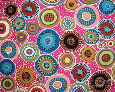 Circles Abstract On Magenta Art Print by Karla Gerard