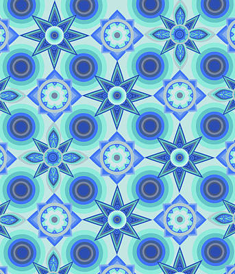 Royalty-Free and Rights-Managed Images - Circles And Flowers Blue by Bekim M