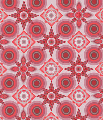 Royalty-Free and Rights-Managed Images - Circles And Flowers Red by Bekim M