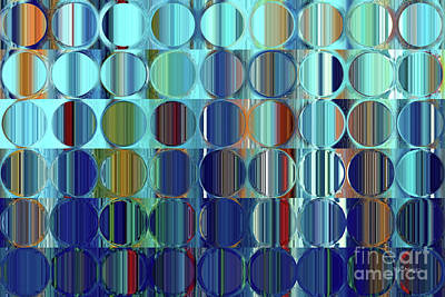 Painting - Circles And Squares 59. Blue Orange Drip by Mark Lawrence