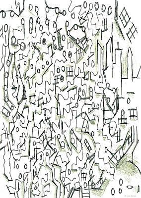 Abstract Skyline Drawings Rights Managed Images - Circles Skyline Shading Royalty-Free Image by Jonathan Baran