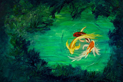 Circling Butterfly Koi Original by Lynne Albright