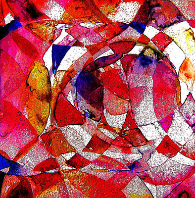 Abstract Rose Oval Digital Art - Circling Reds by Mindy Newman