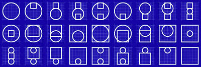 Drawing - Circuare -alphabet- Grid Blueprint by Coded Images