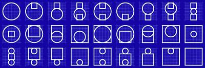 Drawing - Circuare Blueprint - Grid by REVAD David Riley