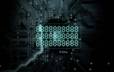 Circuit Board Projecting Text Art Print by Allan Swart