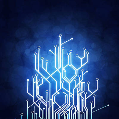 Blue Photograph - Circuit Board Technology by Setsiri Silapasuwanchai