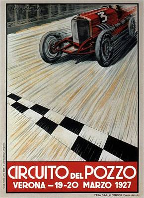 Mixed Media - Circuito Del Pozzo - Automobile Racing 1927 - Verona, Italy - Retro Travel Poster - Vintage Poster by Studio Grafiikka