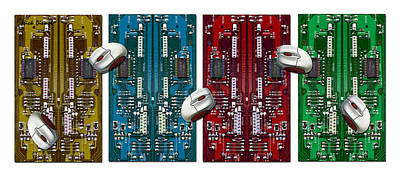 Electronics Mixed Media - Circuits And Mice by Nick Diemel