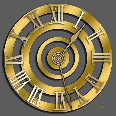 Handcrafted Digital Art - Circular Clock Design by Chuck Staley