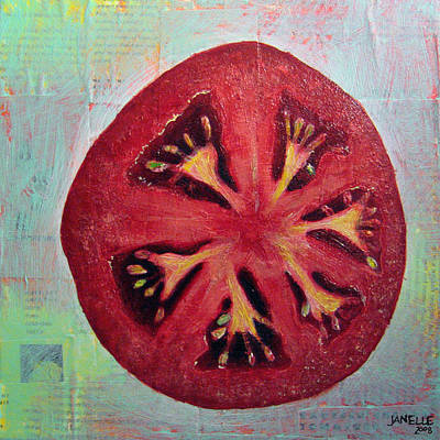 Tomato Mixed Media - Circular Food - Tomato by Janelle Schneider