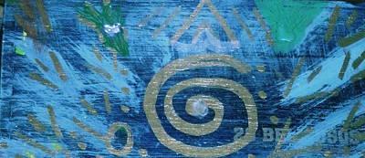 Circular Gold On Blue Art Print by Anne-Elizabeth Whiteway