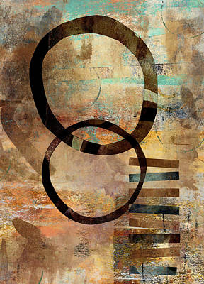 Abstract Montage Digital Art - Circular Lines by Carol Leigh