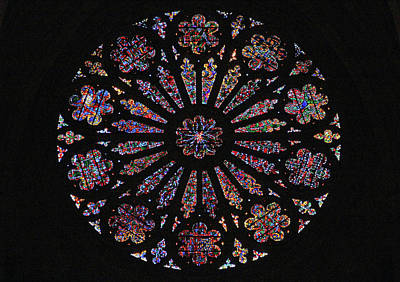 Photograph - Circular Stained Glass Window At The Washington National Cathedral by Cora Wandel