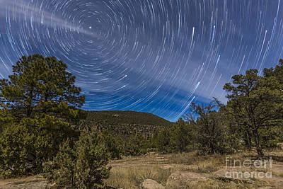 Circumpolar Star Trails Over The Gila Art Print by Alan Dyer