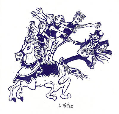 Circus Acrobats On Horse With Clown Print by Barry Nelles Art
