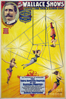 Drawing - Circus, Aerialists, C1898.  by Granger