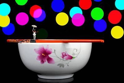 Circus Balance Game On Chopsticks Art Print