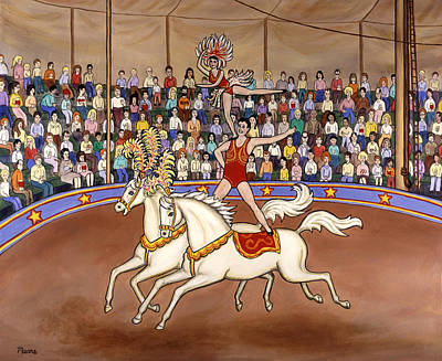 White Horse Painting - Circus Bareback Riders by Linda Mears