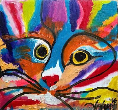 Mental Painting - Circus Cat Clown Face by Scott D Van Osdol